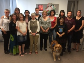 Spring Workshop 2016 with Della Goswell: Day 1. Lynx and Della with Deaf participants